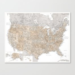 Neutral watercolor highly detailed map of the US Canvas Print