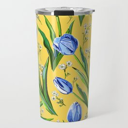 Blue Tulips + Babys Breath | Yellow Travel Mug
