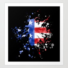 Frank Underwood  |  House Of Cards  |  Red, White & Blue Blood Spatter Art Print