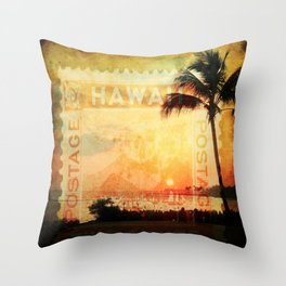 Hawaii, Sunset, Typograph, Postage Stamp Throw Pillow