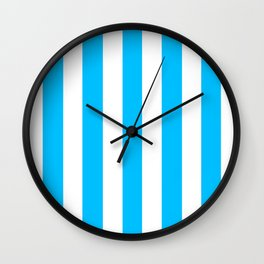 Deep sky blue - solid color - white vertical lines pattern Wall Clock