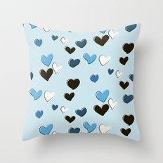 blue heart print Throw Pillow