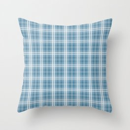Spring 2017 Designer Color Niagra Blue Tartan Plaid Check Throw Pillow