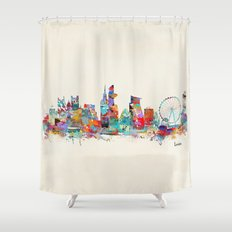 london city skyline watercolor Shower Curtain