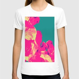 Abstract Roses on Aqua Background T-shirt