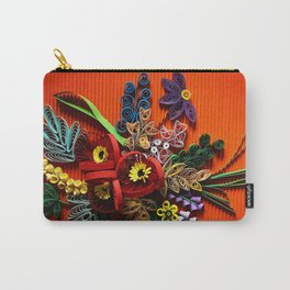 Poppies and lavender paper flowers, quilled flowers on red background Carry-All Pouch