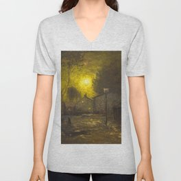By the Light of a Yellow Moon, Cityscape by George Inness Unisex V-Neck