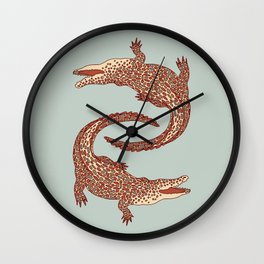 Crocodiles (Calm Beige and Gray Palette) Wall Clock