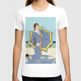 "C Coles Phillips ""Beach Umbrella"" Fadeaway Girl T-shirt"