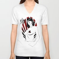 girl power V-neck T-shirts featuring Girl Power by Sirenphotos