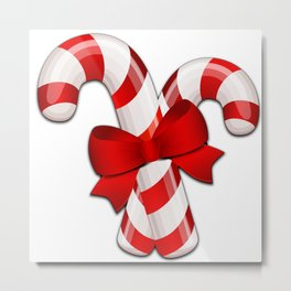 Candy Canes with a Bow Metal Print