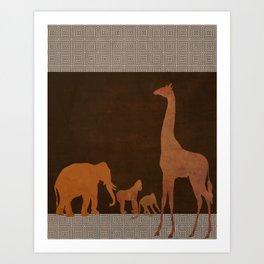 Brown Safari Jungle Zoo Animals Art Print