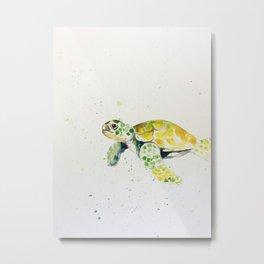 turtle watercolor art Metal Print