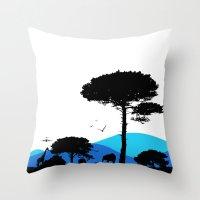 safari Throw Pillows featuring Safari by yakitoko