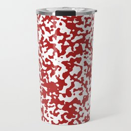 Small Spots - White and Firebrick Red Travel Mug