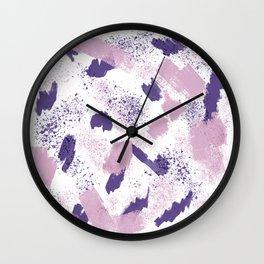 Modern ultra violet pink lavender brushstrokes abstract splatters Wall Clock