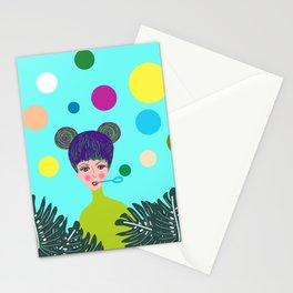 Playful girl Stationery Cards