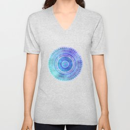 Blue Turquoise And Purple Watercolor Mandala Art Unisex V-Neck
