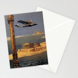 Italian vintage plane travel Brindisi Athens Istanbul Stationery Cards