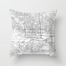 Phoenix City Map Line Throw Pillow