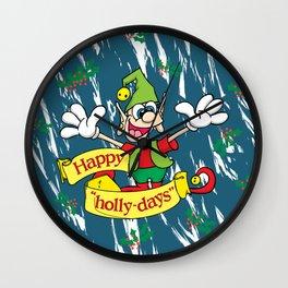 """Happy """"Holly-days"""" Wall Clock"""
