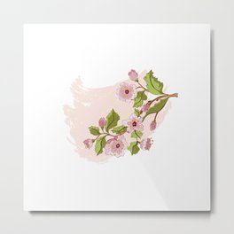 Colored Sketch of Sakura Branch Metal Print