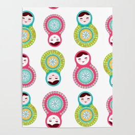 dolls matryoshka on white background, pink and blue colors Poster