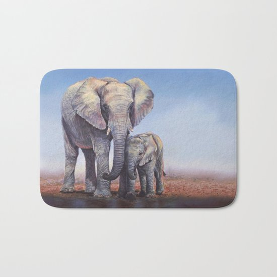 Elephants Mom Baby Bath Mat