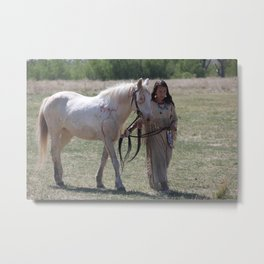 She who walks with ponies Metal Print