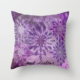 LACE AND LEATHER - Underwear Love Project Deep Purple Lace Pattern Fancy Elegant Typography Abstract Throw Pillow
