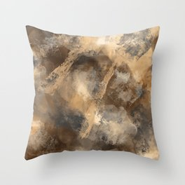 Stormy Abstract Art in Brown and Gray Throw Pillow