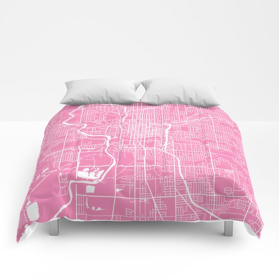 Indianapolis map pink Comforters