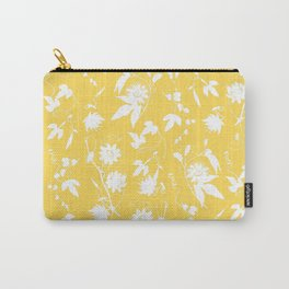 Elegant Gold Mustard Yellow Floral Silhouettes Carry-All Pouch