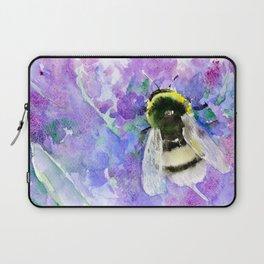 Bumblebee and Lavender Flowers Herbal Bee Honey Purple Floral design Laptop Sleeve