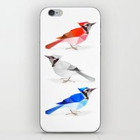 jay fleck iPhone & iPod Skins featuring Red jay, white jay, blue jay. by The animals moved to - society6.com/dian