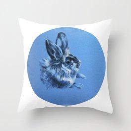 rabbit painting on blue textile Throw Pillow