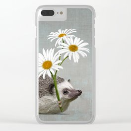 Hedgehog in love Clear iPhone Case