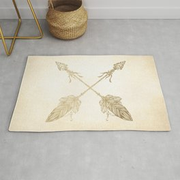 Tribal Arrows Gold on Paper Rug