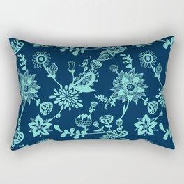 Mint on navy floral doodles.  Rectangular Pillow