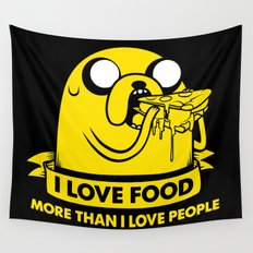 I love food more than I love people Wall Tapestry