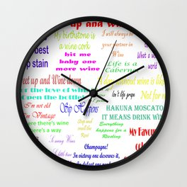 Coloured Wine Quotes Wall Clock