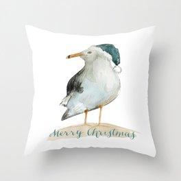 Coastal Christmas Seagull  Throw Pillow