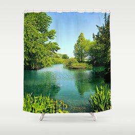 Aqua Lake Shower Curtain