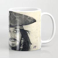 jack sparrow Mugs featuring Captain Jack Sparrow ~ Johnny Depp Traditional Portrait Print by bianca.ferrando