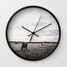 Horses in a Field in Black and White Wall Clock