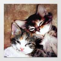 best friends Canvas Prints featuring best friends by Lydia Cheval
