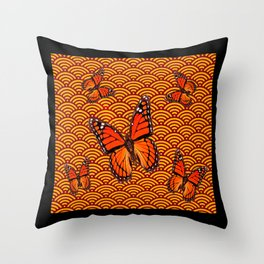 Orange Monarch Butterflies In Stylized Clouds Black Abstract Throw Pillow
