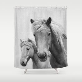 Horses - Black & White Shower Curtain