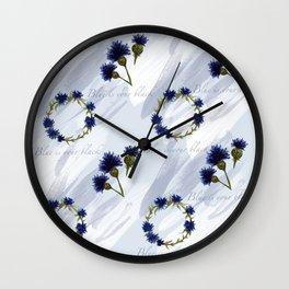 Blue cornflower watercolour pattern Wall Clock