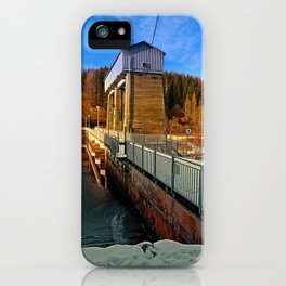 Hydropower station in winter wonderland | architectural photography iPhone Case